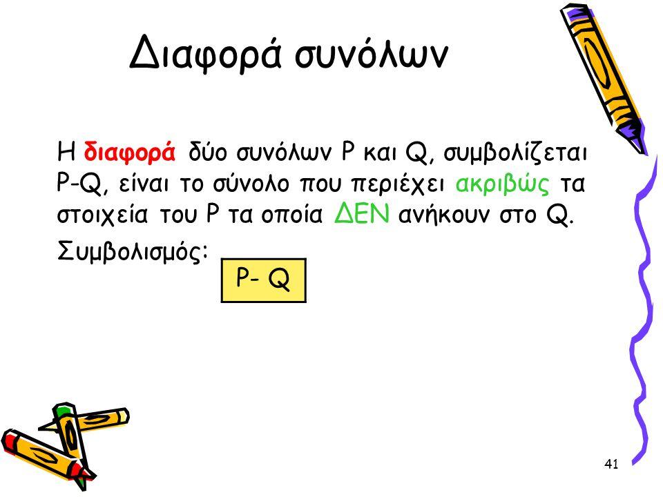 Διαφορά συνόλων Η διαφορά δύο συνόλων P και Q, συμβολίζεται P-Q, είναι το σύνολο που περιέχει ακριβώς τα στοιχεία του P τα οποία ΔΕΝ ανήκουν στο Q.