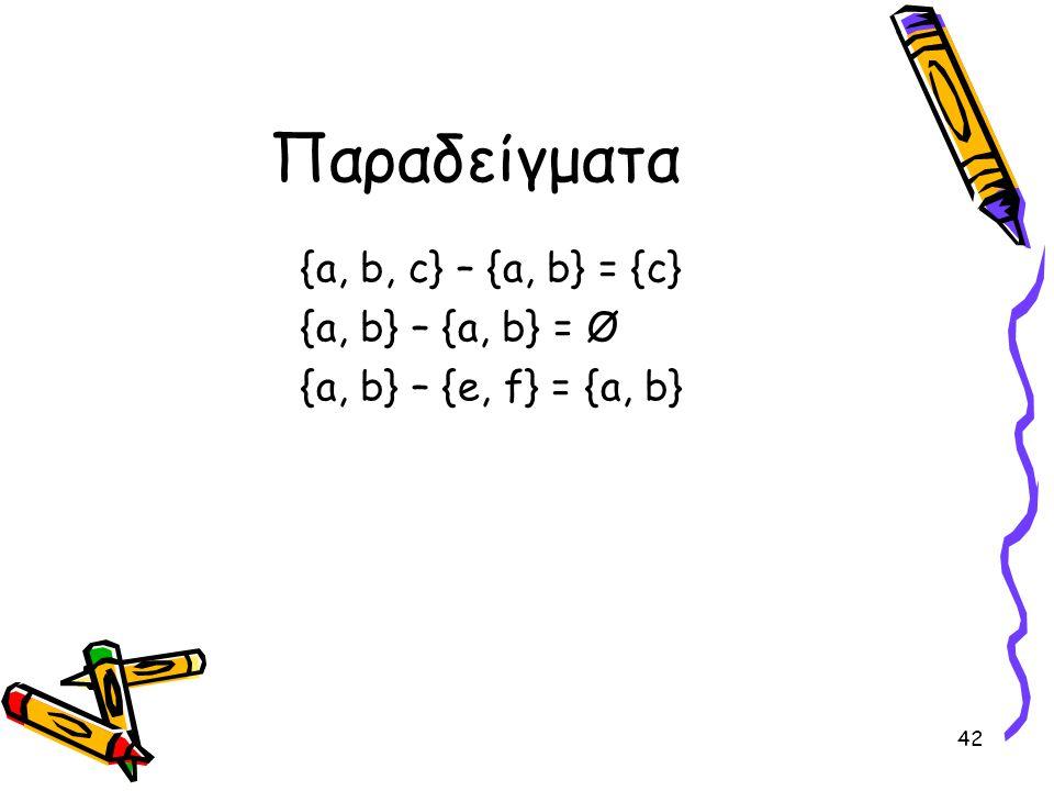 Παραδείγματα {a, b, c} – {a, b} = {c} {a, b} – {a, b} = Ø
