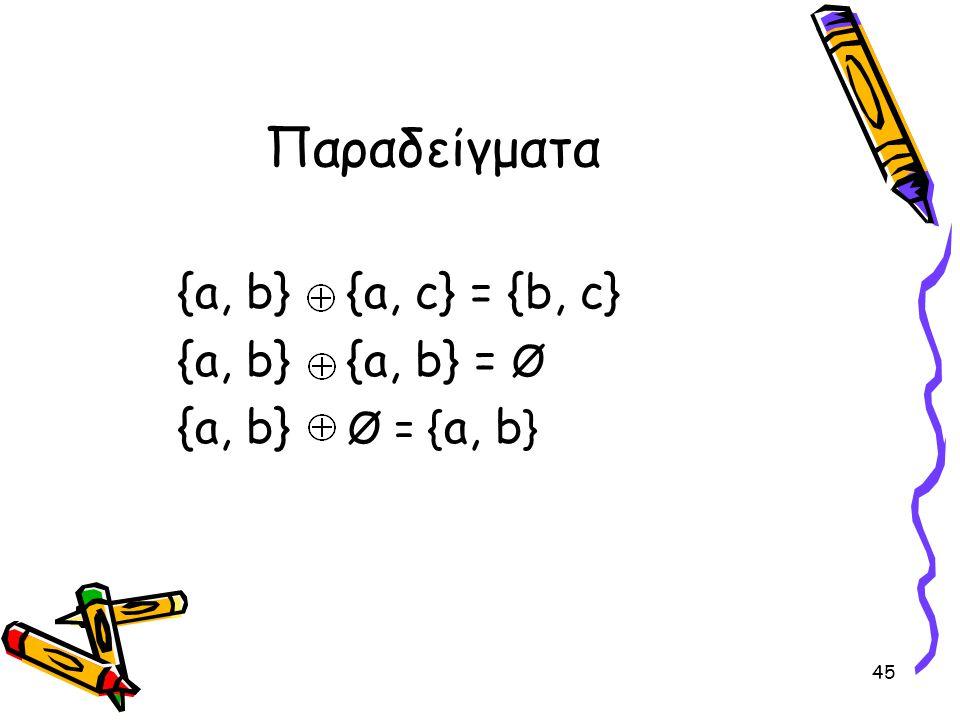 Παραδείγματα {a, b} {a, c} = {b, c} {a, b} {a, b} = Ø
