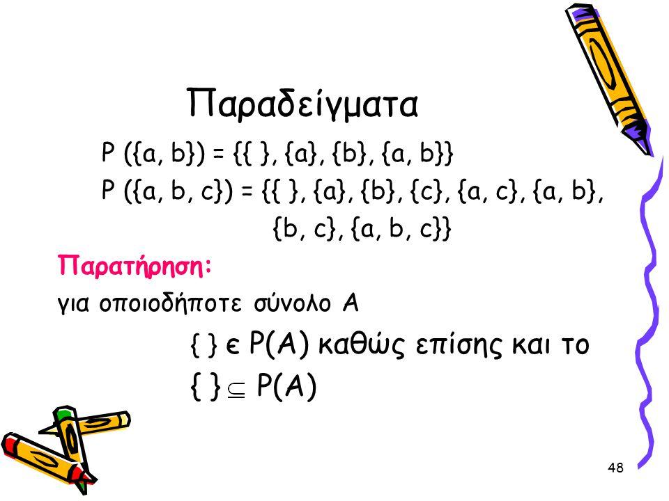 Παραδείγματα { } P(A) P ({a, b}) = {{ }, {a}, {b}, {a, b}}