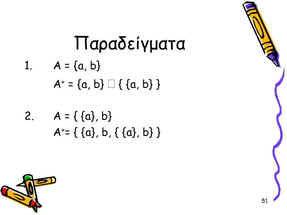 Παραδείγματα Α = {a, b} A+ = {a, b} È { {a, b} } Α = { {a}, b}
