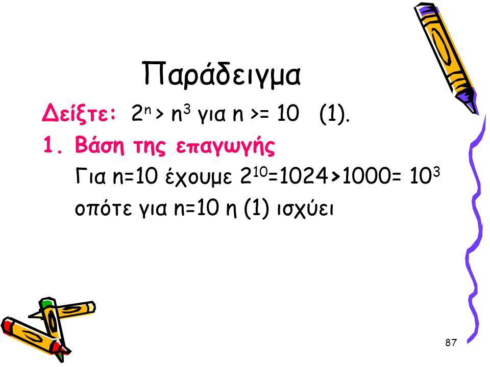 Παράδειγμα Δείξτε: 2n > n3 για n >= 10 (1). Βάση της επαγωγής