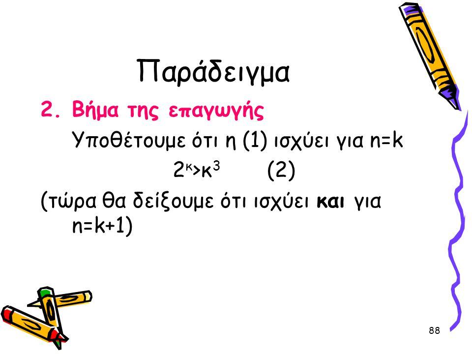 Παράδειγμα Βήμα της επαγωγής Υποθέτουμε ότι η (1) ισχύει για n=k