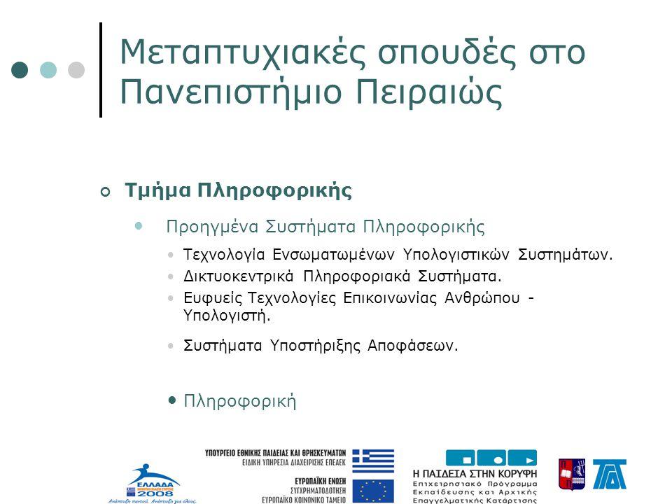 Μεταπτυχιακές σπουδές στο Πανεπιστήμιο Πειραιώς