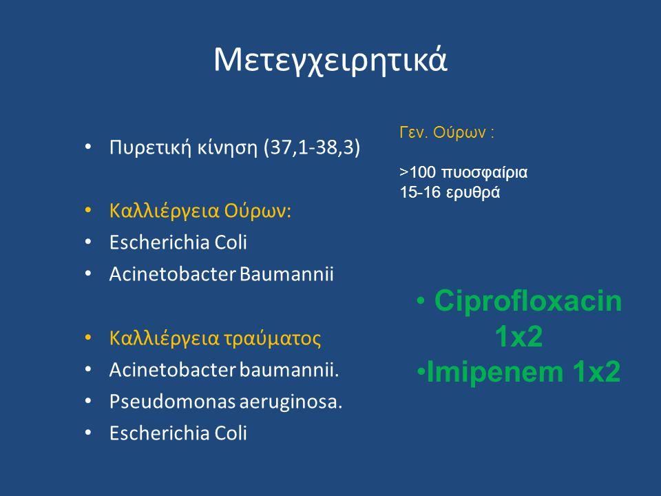 Μετεγχειρητικά Ciprofloxacin 1x2 Imipenem 1x2