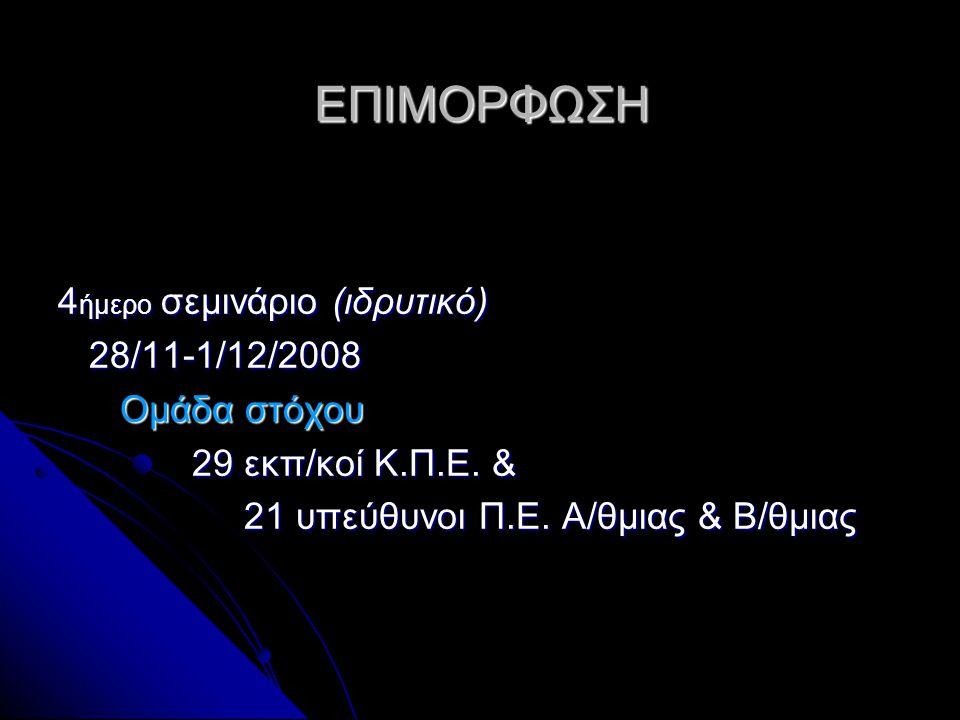 ΕΠΙΜΟΡΦΩΣΗ 4ήμερο σεμινάριο (ιδρυτικό) 28/11-1/12/2008 Ομάδα στόχου