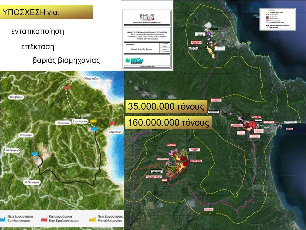 35.000.000 τόνους 160.000.000 τόνους ΥΠΟΣΧΕΣΗ για: εντατικοποίηση