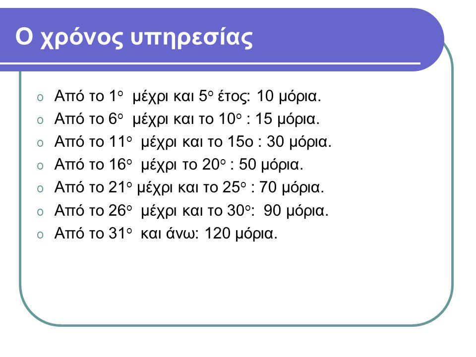 Ο χρόνος υπηρεσίας Από το 1ο μέχρι και 5ο έτος: 10 μόρια.