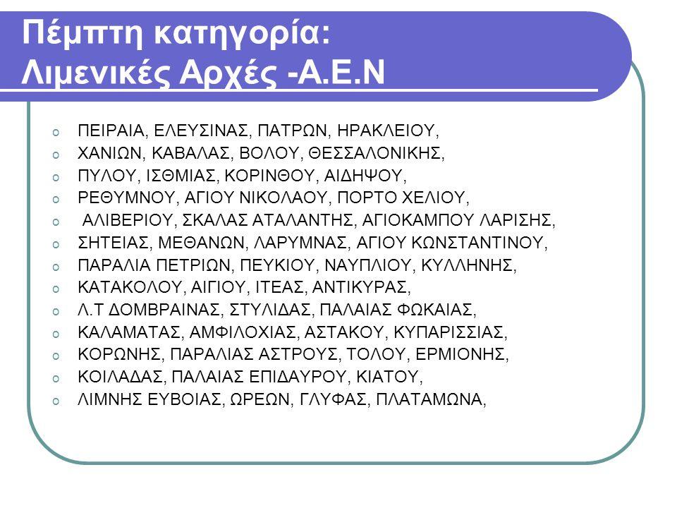 Πέμπτη κατηγορία: Λιμενικές Αρχές -Α.Ε.Ν