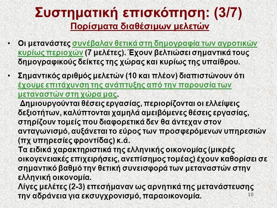Συστηματική επισκόπηση: (3/7) Πορίσματα διαθέσιμων μελετών