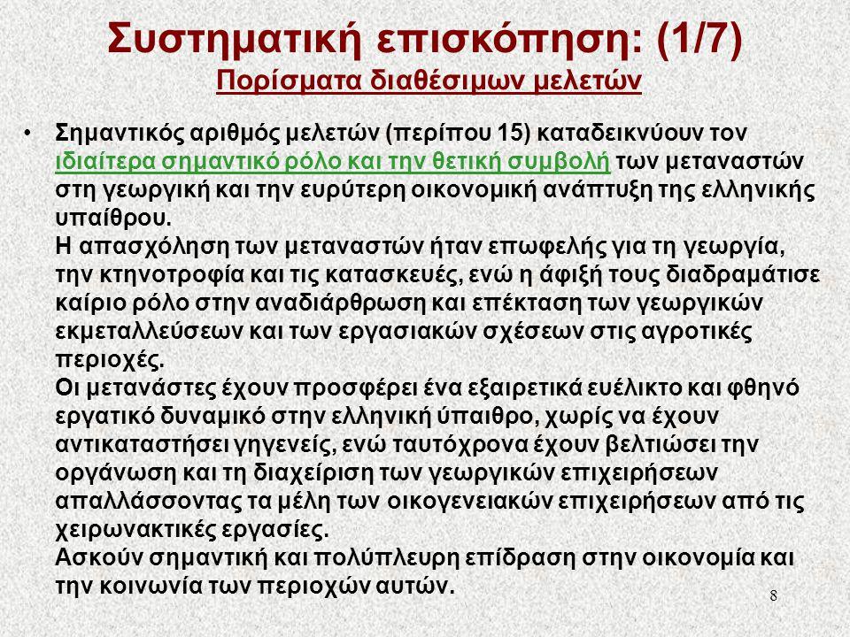 Συστηματική επισκόπηση: (1/7) Πορίσματα διαθέσιμων μελετών