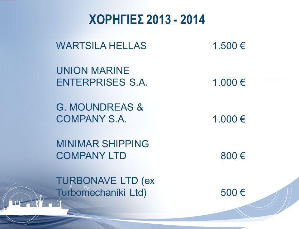 ΧΟΡΗΓΙΕΣ 2013 - 2014 WARTSILA HELLAS 1.500 €