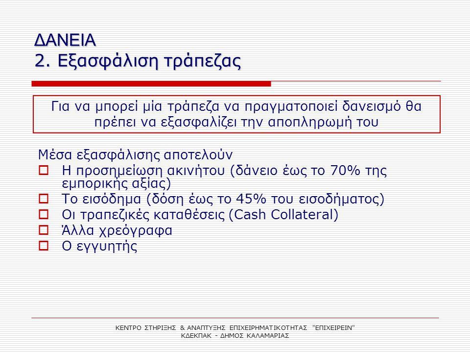 ΔΑΝΕΙΑ 2. Εξασφάλιση τράπεζας