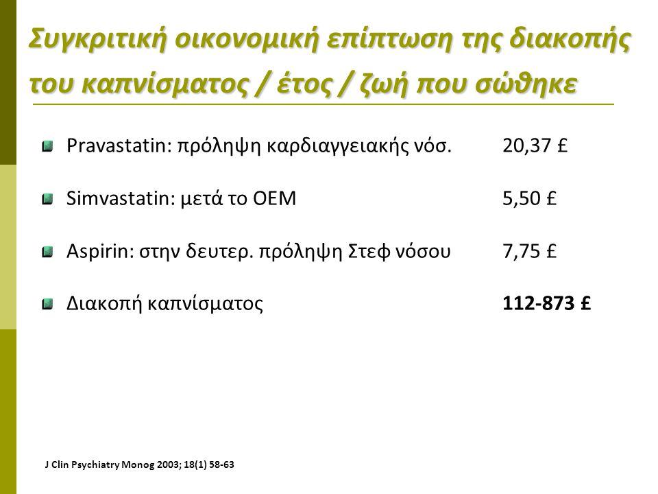 Συγκριτική οικονομική επίπτωση της διακοπής του καπνίσματος / έτος / ζωή που σώθηκε
