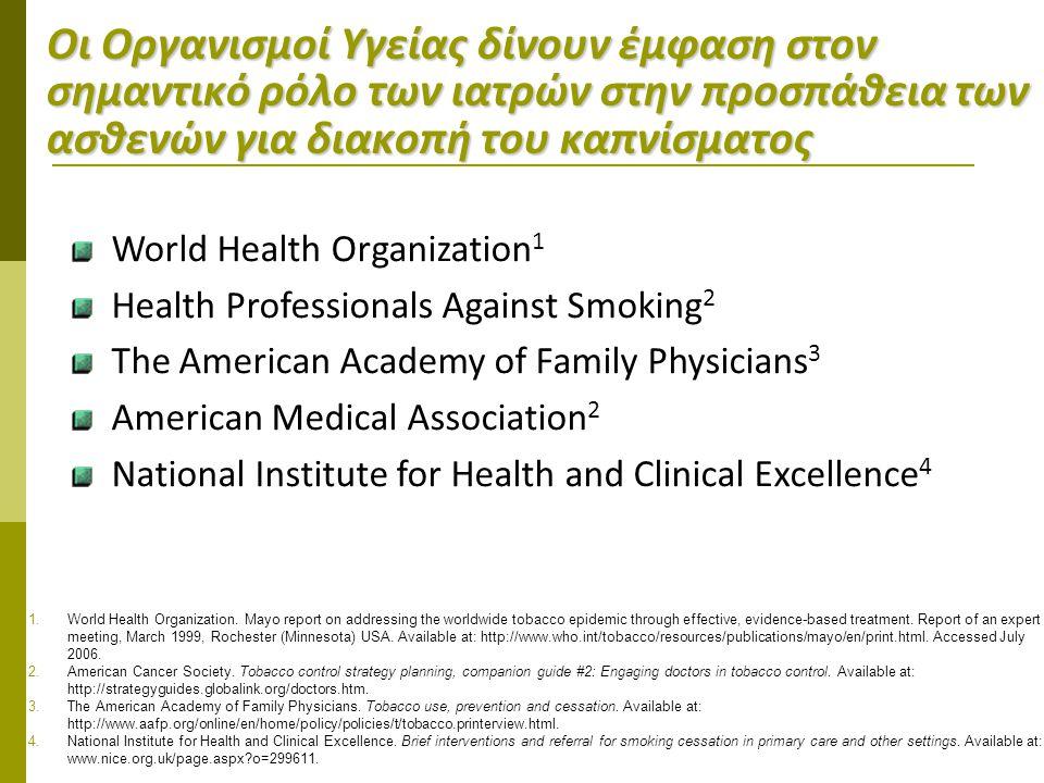 Οι Οργανισμοί Υγείας δίνουν έμφαση στον σημαντικό ρόλο των ιατρών στην προσπάθεια των ασθενών για διακοπή του καπνίσματος