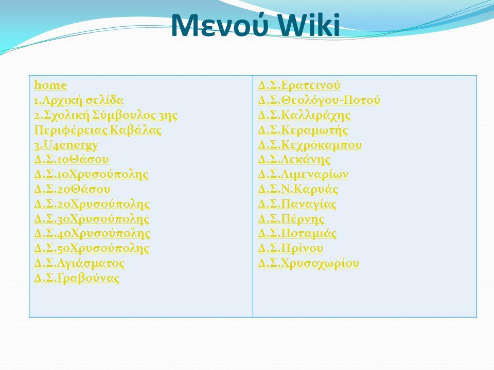 Μενού Wiki home 1.Αρχική σελίδα