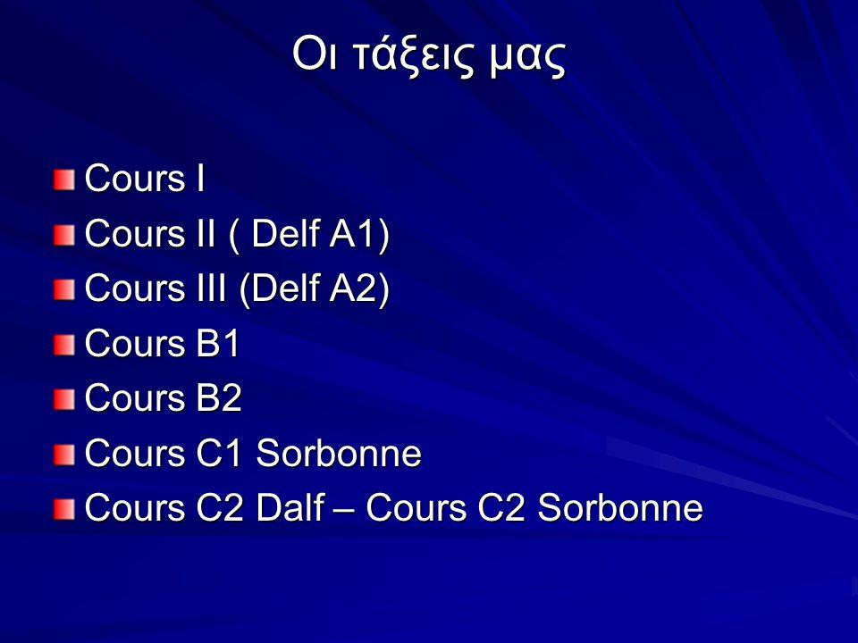 Οι τάξεις μας Cours I Cours II ( Delf A1) Cours III (Delf A2) Cours B1