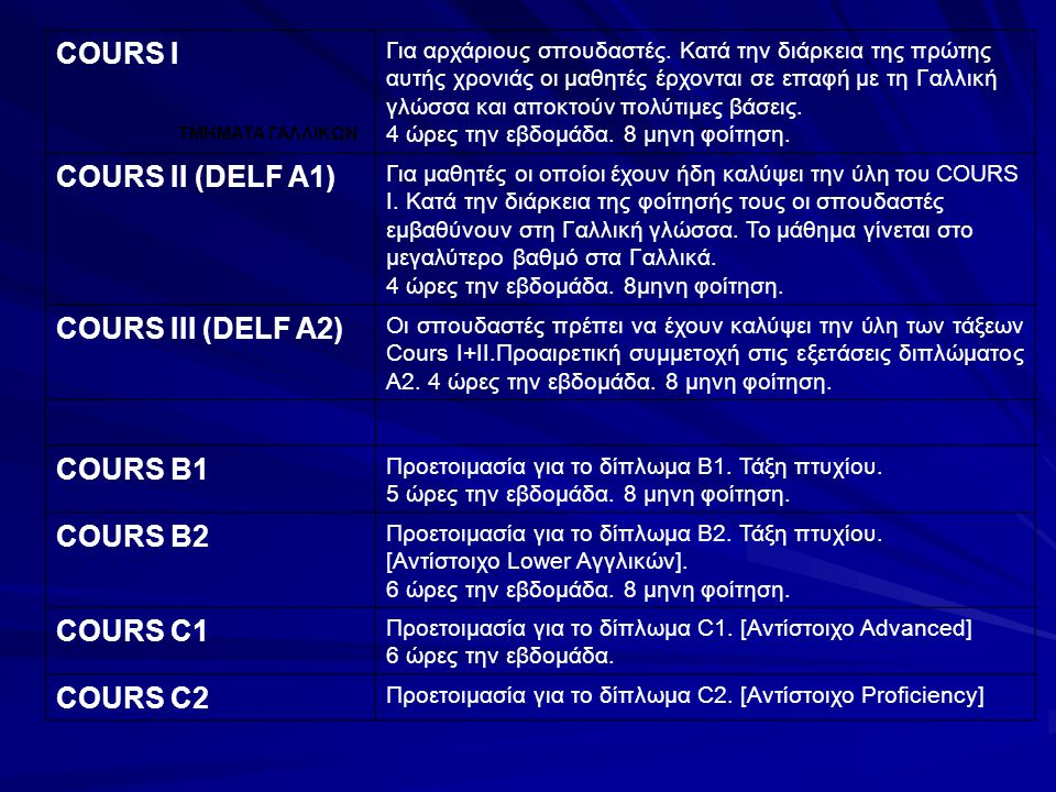 COURS I COURS II (DELF A1) COURS III (DELF A2) COURS B1 COURS B2