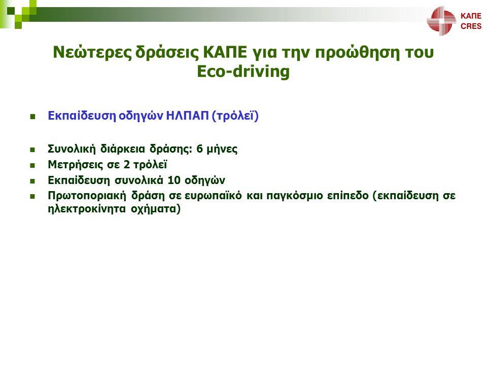 Νεώτερες δράσεις ΚΑΠΕ για την προώθηση του Eco-driving