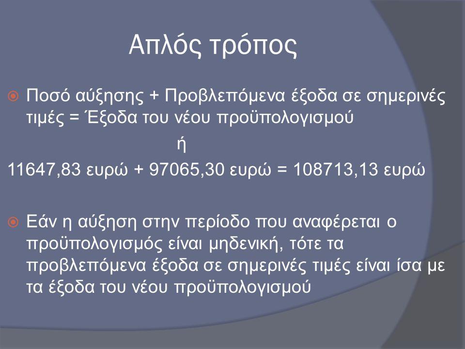 Απλός τρόπος Ποσό αύξησης + Προβλεπόμενα έξοδα σε σημερινές τιμές = Έξοδα του νέου προϋπολογισμού. ή.