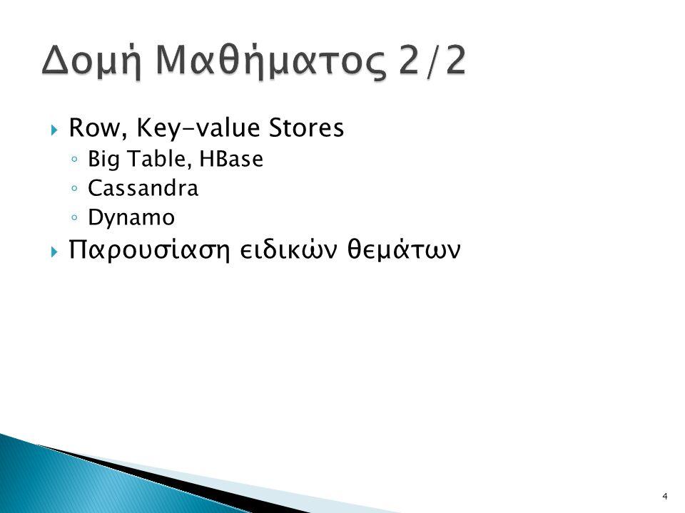 Δομή Μαθήματος 2/2 Row, Key-value Stores Παρουσίαση ειδικών θεμάτων