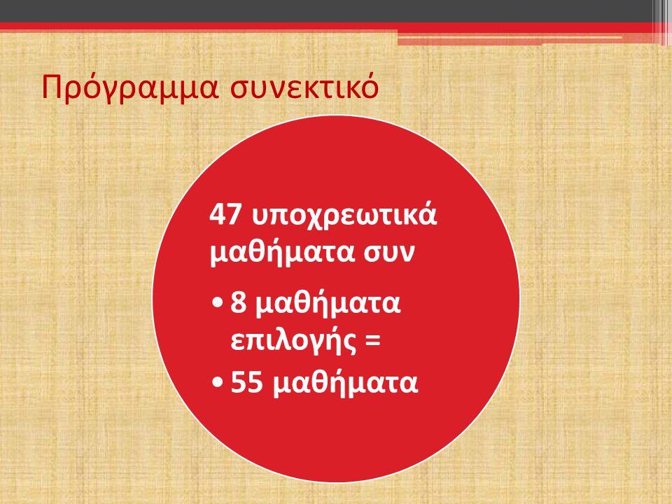 Πρόγραμμα συνεκτικό 47 υποχρεωτικά μαθήματα συν 8 μαθήματα επιλογής =
