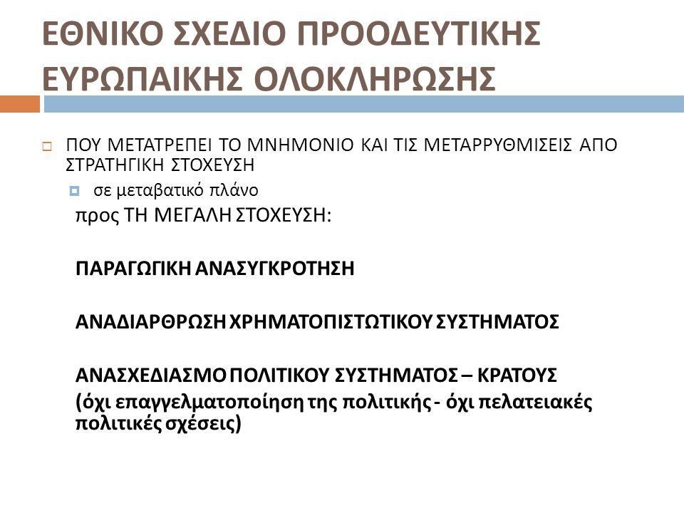 ΕΘΝΙΚΟ ΣΧΕΔΙΟ ΠΡΟΟΔΕΥΤΙΚΗΣ ΕΥΡΩΠΑΙΚΗΣ ΟΛΟΚΛΗΡΩΣΗΣ