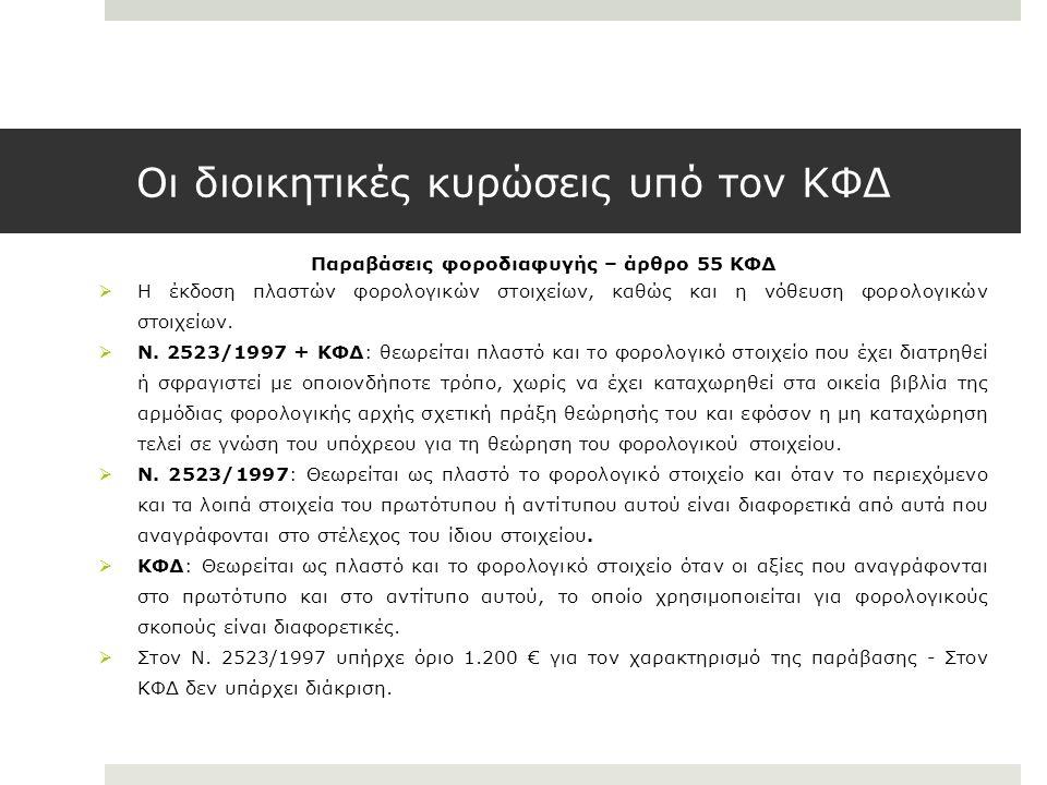 Οι διοικητικές κυρώσεις υπό τον ΚΦΔ