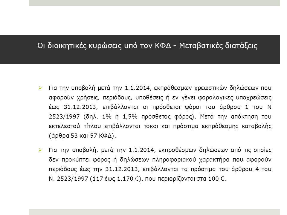 Οι διοικητικές κυρώσεις υπό τον ΚΦΔ - Μεταβατικές διατάξεις