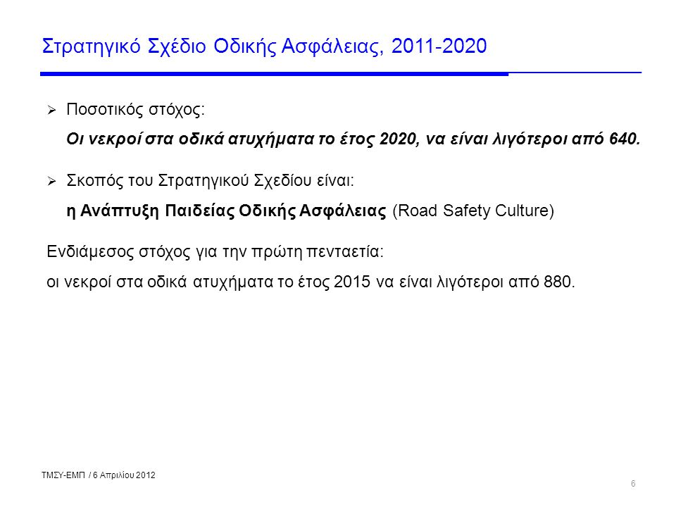 Στρατηγικό Σχέδιο Οδικής Ασφάλειας, 2011-2020