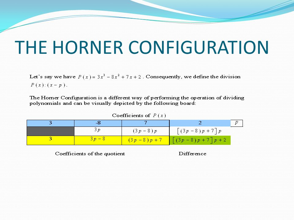 THE HORNER CONFIGURATION