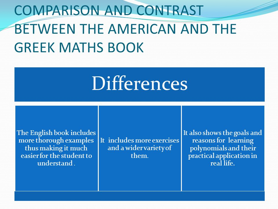 COMPARISON AND CONTRAST BETWEEN THE AMERICAN AND THE GREEK MATHS BOOK