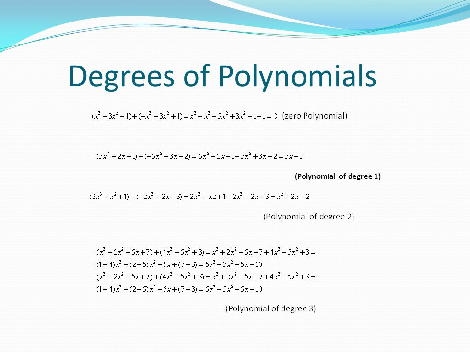 Degrees of Polynomials