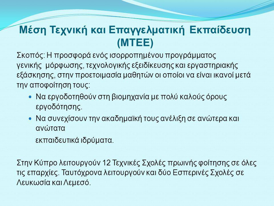 Μέση Τεχνική και Επαγγελματική Εκπαίδευση (ΜΤΕΕ)