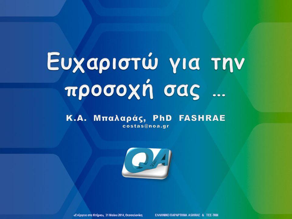 Ευχαριστώ για την προσοχή σας … Κ.Α. Μπαλαράς, PhD FASHRAE