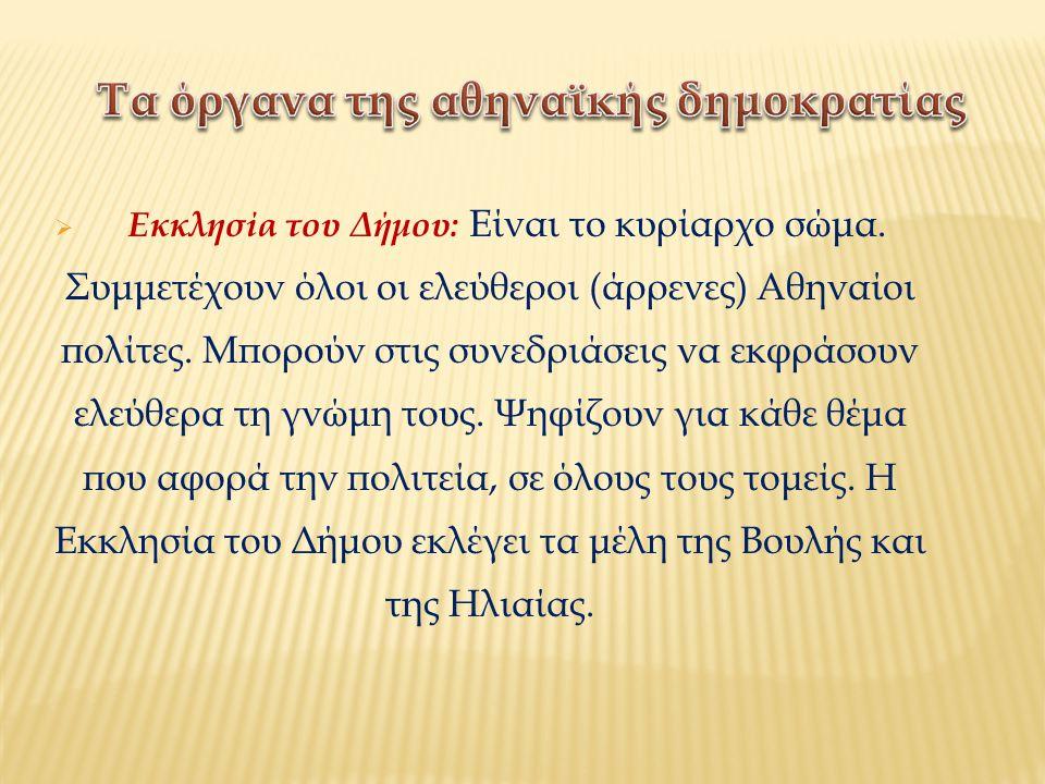 Τα όργανα της αθηναϊκής δημοκρατίας