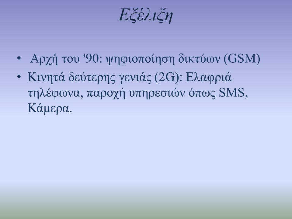 Εξέλιξη Αρχή του 90: ψηφιοποίηση δικτύων (GSM)