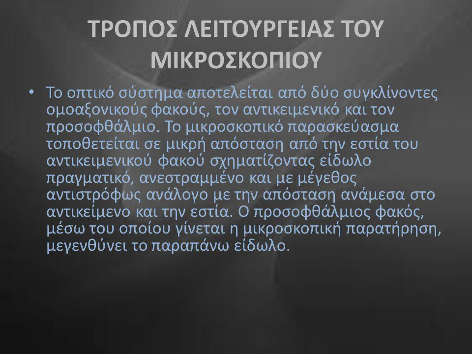 ΤΡΟΠΟΣ ΛΕΙΤΟΥΡΓΕΙΑΣ ΤΟΥ ΜΙΚΡΟΣΚΟΠΙΟΥ
