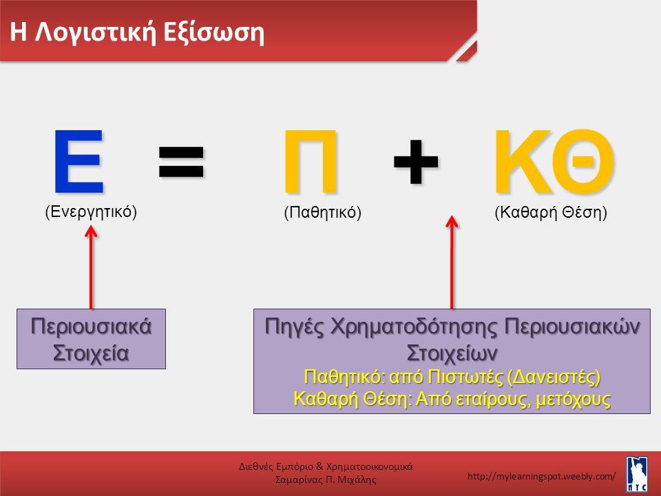 Ε = Π + ΚΘ Η Λογιστική Εξίσωση Περιουσιακά Στοιχεία