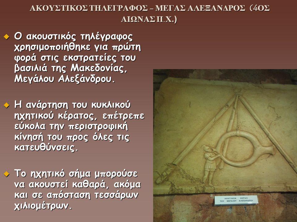 ΑΚΟΥΣΤΙΚΟΣ ΤΗΛΕΓΡΑΦΟΣ - ΜΕΓΑΣ ΑΛΕΞΑΝΔΡΟΣ (4ΟΣ ΑΙΩΝΑΣ Π.Χ.)