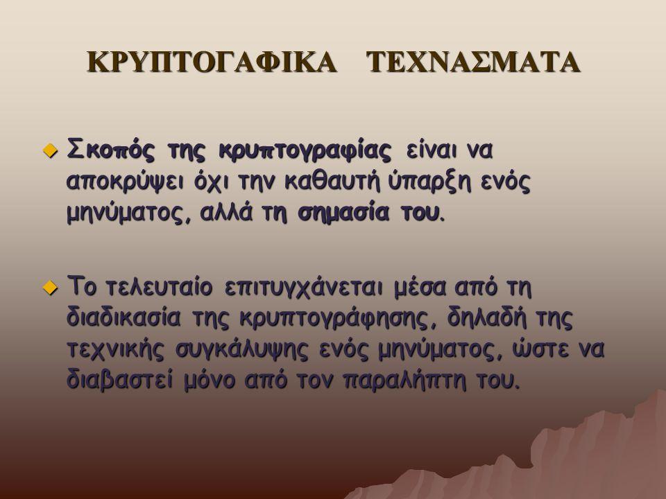 ΚΡΥΠΤΟΓΑΦΙΚΑ ΤΕΧΝΑΣΜΑΤΑ