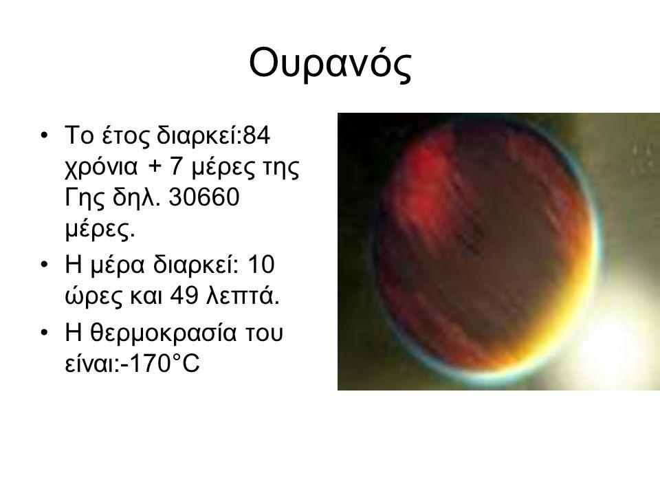 Ουρανός Το έτος διαρκεί:84 χρόνια + 7 μέρες της Γης δηλ. 30660 μέρες.