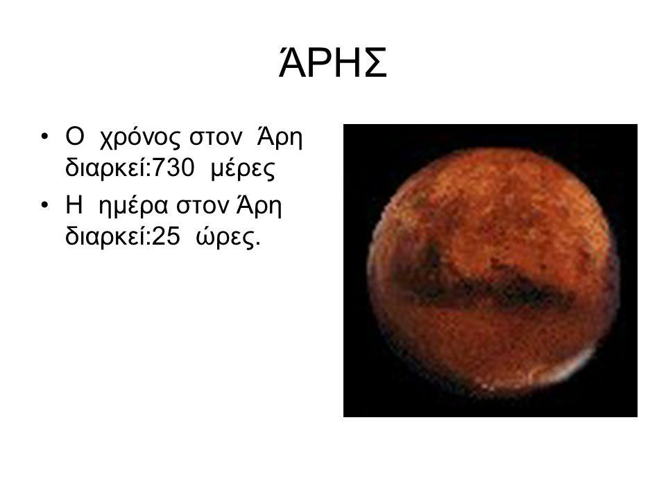 ΆΡΗΣ Ο χρόνος στον Άρη διαρκεί:730 μέρες