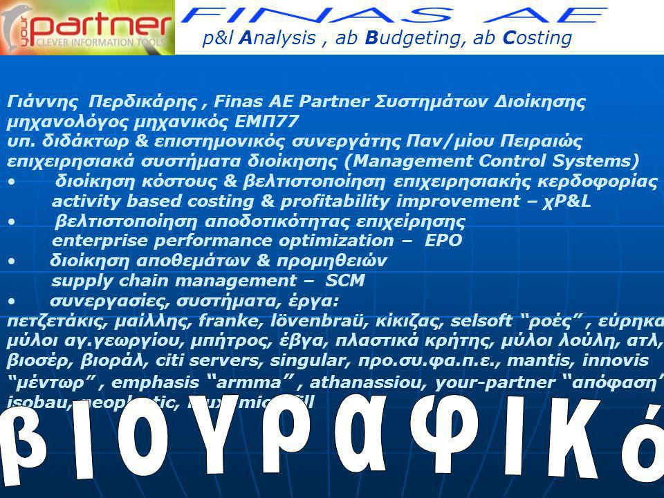 βιογραφικό 3P, ABC p&l Analysis , ab Budgeting, ab Costing