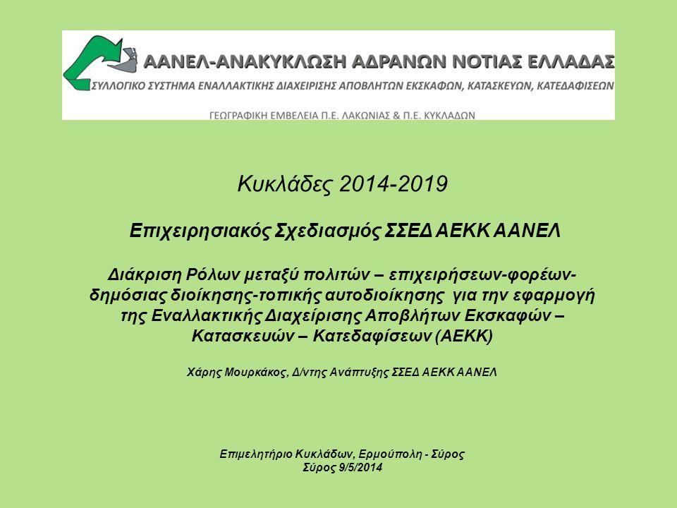 Κυκλάδες 2014-2019 Επιχειρησιακός Σχεδιασμός ΣΣΕΔ ΑΕΚΚ ΑΑΝΕΛ