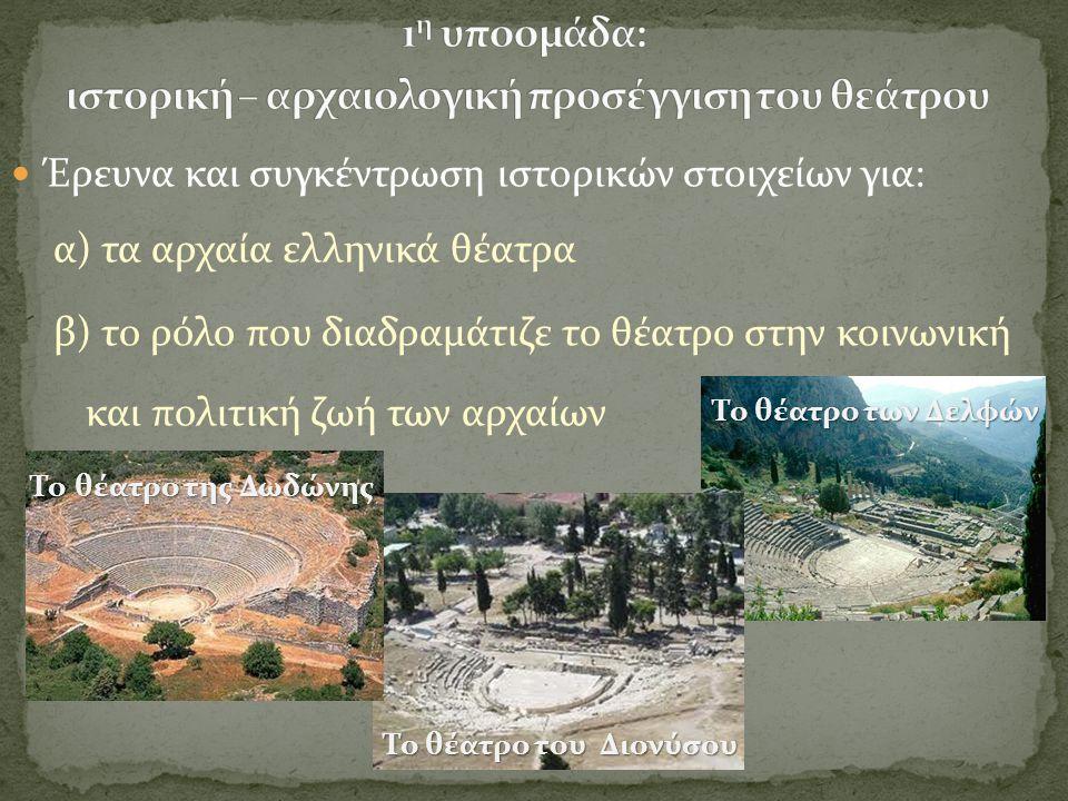 1η υποομάδα: ιστορική – αρχαιολογική προσέγγιση του θεάτρου