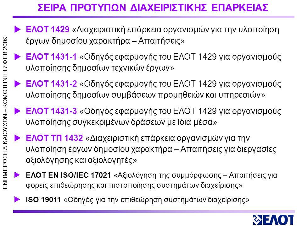 ΣΕΙΡΑ ΠΡΟΤΥΠΩΝ ΔΙΑΧΕΙΡΙΣΤΙΚΗΣ ΕΠΑΡΚΕΙΑΣ