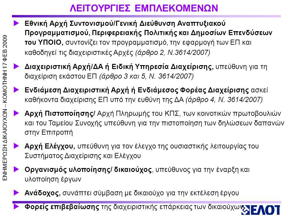 ΛΕΙΤΟΥΡΓΙΕΣ ΕΜΠΛΕΚΟΜΕΝΩΝ