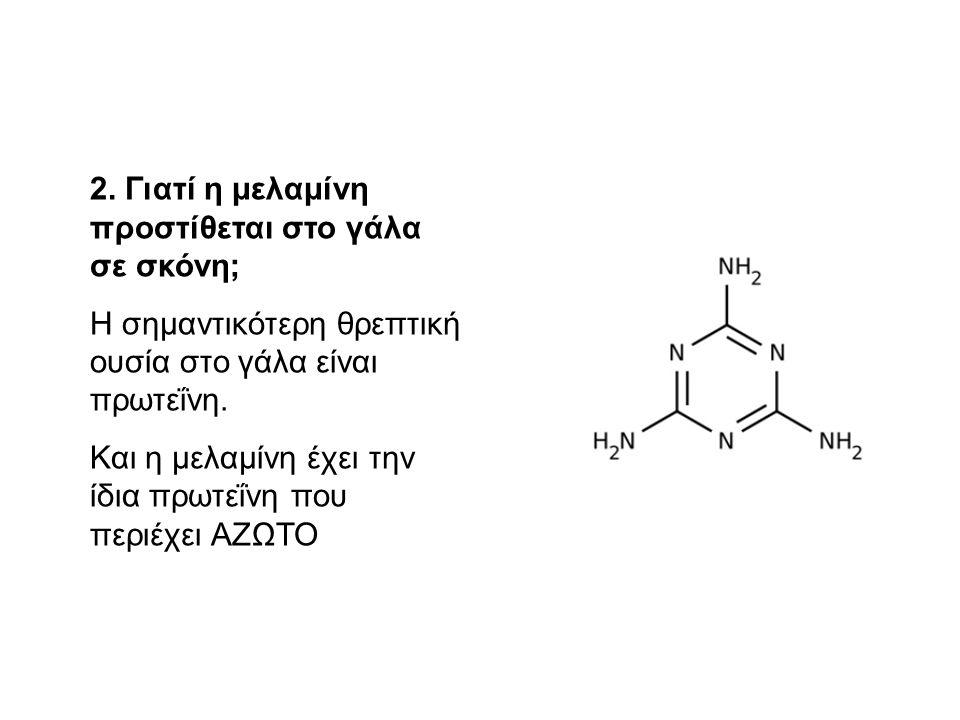 2. Γιατί η μελαμίνη προστίθεται στο γάλα σε σκόνη;