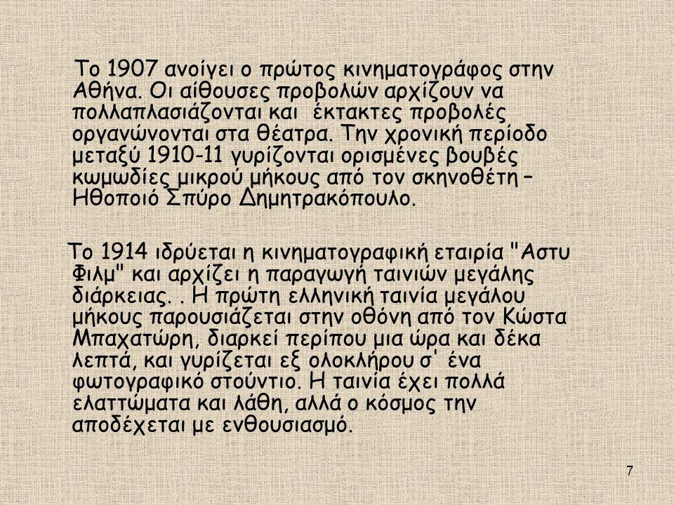 Το 1907 ανοίγει ο πρώτος κινηματογράφος στην Αθήνα
